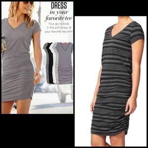 Athleta Striped Ruched Side V-Neck Jersey Dress